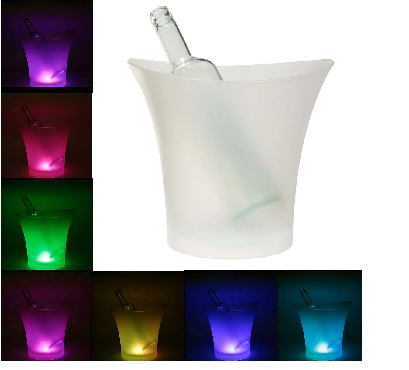 Superjune 7 Colors LED Light Ice Bucket Champagne Wine Drinks Beer Ice Cooler Bar Party 5L