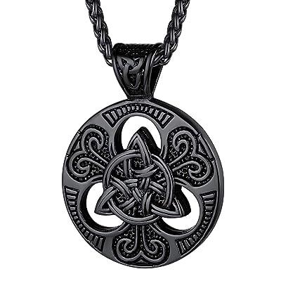 Vintage Celtic Knot Rune Round Pendant Necklace Fashion Jewelry for Women Men