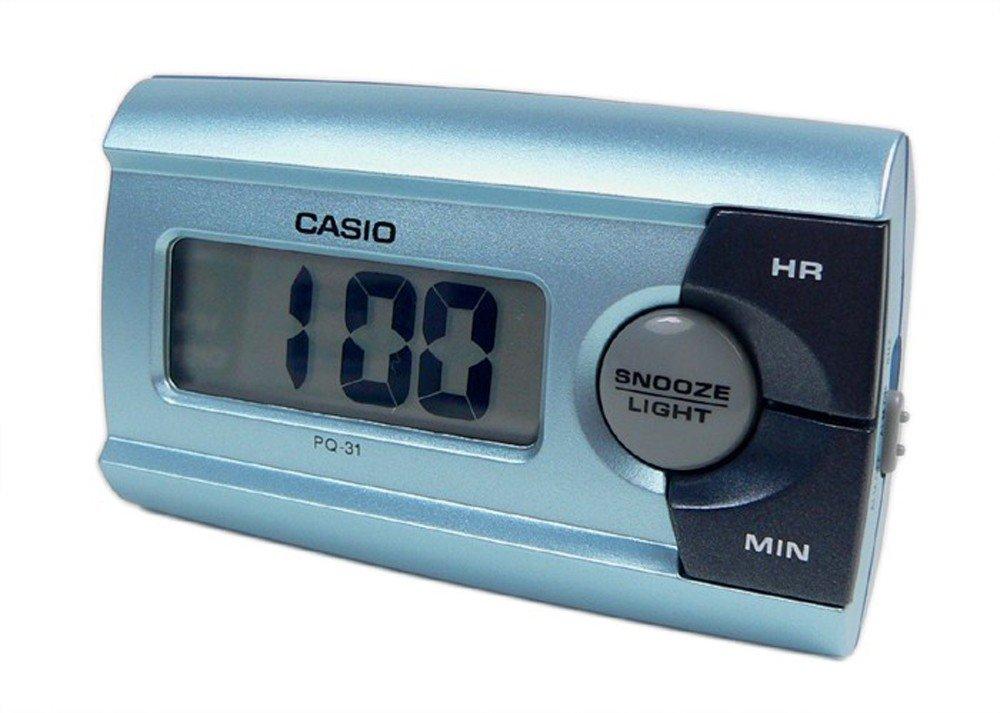 Casio Digital Wecker Reisewecker mit Snooze Funktion Blau PQ-31-2EF