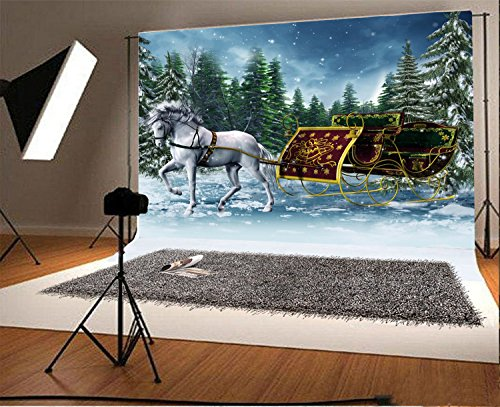 (Laeacco 7x5FT Vinyl Backdrop Photography Background Vintage Sleigh and White Horse Winter Forest Snow Day Pine Trees Royal Cart Children Baby Kids Lover Christams Backdrop Photo Studio Props)
