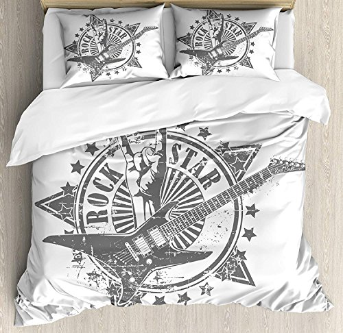 Guitar Luxury Brushed Microfiber Duvet Cover Set, King - Ultra Soft, Hypoallergenic Bedding Set, Machine Washable, Stars with Rock Sign Monochrome Musical Instrument Design Rockstar Life Singing ()