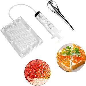 Rapid Caviar Maker Kit Caviar Spherification Tool Hole Spherification Dropper Gastronomy Kit 100 Roe Sauce Dispenser Strainer Tools with Spoon & Syringe