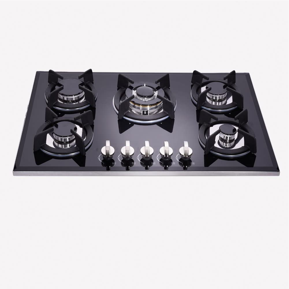 Deli-kit DK157-B01S 30inch gas cooktop gas hob stovetop LPG/NG Dual Fuel 5 Sealed Burngas brass burner Kitchen Tempered Glass Built-in gas hob 110V AC pulse ignition with cast iron support
