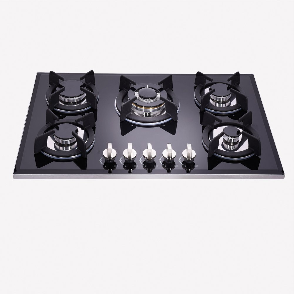 DeliKit DK157-B01S 30inch gas cooktop gas hob 5burners LPG/NG Dual Fuel 5 Sealed Burngas brass burner Kitchen Tempered Glass Built-in gas hob 110V AC pulse ignition with cast iron support
