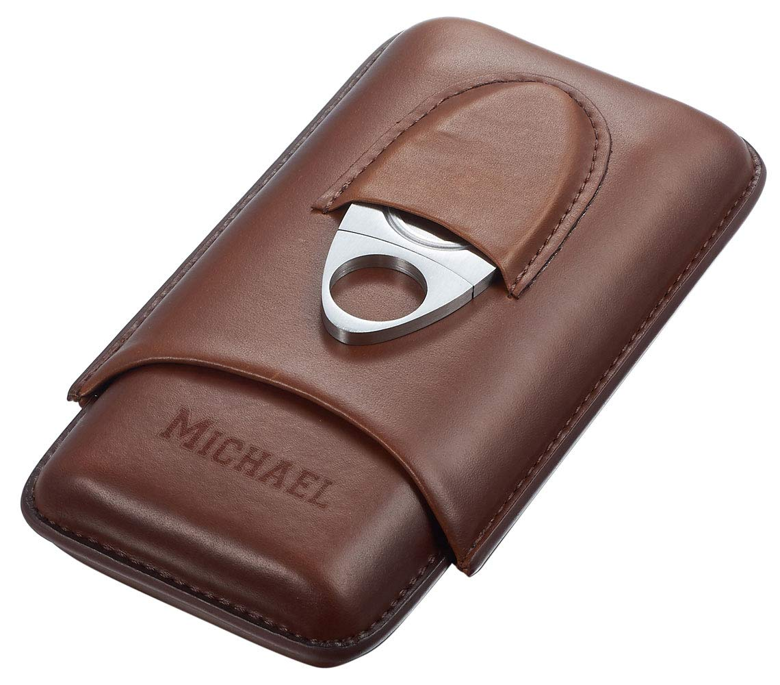 Personalized Visol Legend Brown Genuine Leather Cigar Case with Cutter with Free Engraving