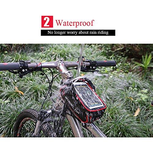 Fahrradtasche, BODECIN Bike Frame Tasche, Front Frame Taschen, Radfahren Fahrrad Fahrrad Top Tube Wasserdicht Lenker Bag Phone Halterung Halter mit Sonnenblende für Handy Unter 6 inch Rot