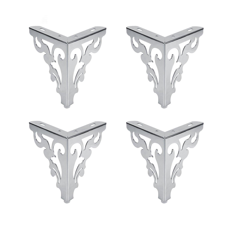4Pcs Metal Muebles Sofá Patas, Diseño de Flores Europea Gabinete Pies Muebles, Accesorios Creativos del Hardware Para los Taburetes, las Sillas, las Camas, el etc.(12CM) Diseño de Flores Europea Gabinete Pies Muebles Lifestan