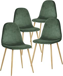 GreenForest Velvet Dining Chairs Set of 4,Dining Kitchen Room Chairs, Mid Century Modern Upholstered Side Chairs with Metal Legs,Dark Green