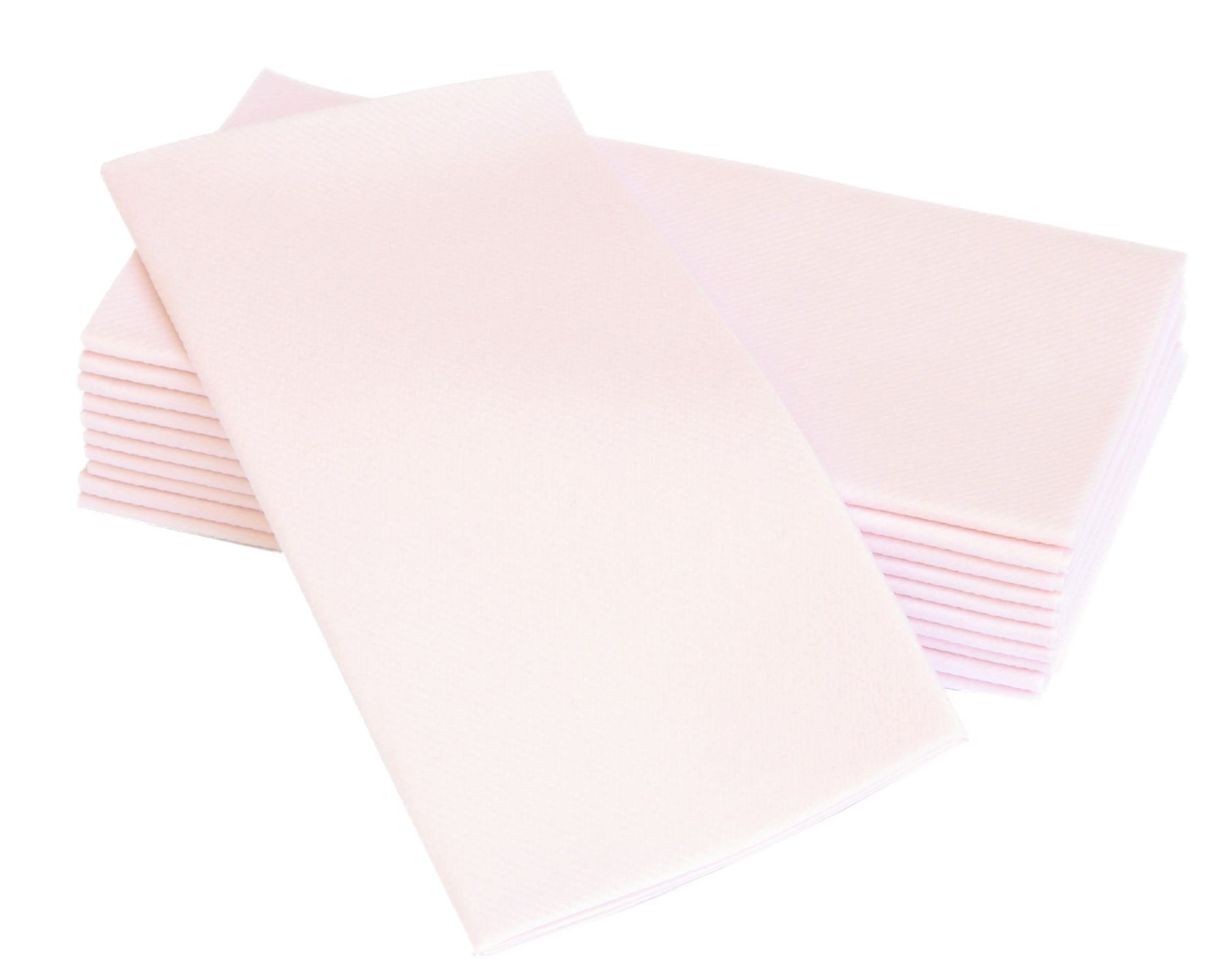 "Simulinen Dinner Napkins – Disposable, Light PINK, Cloth-Like – Elegant & Heavy Duty, Soft & Absorbent, Like Paper but Better! 16""x16"" – Box of 50"