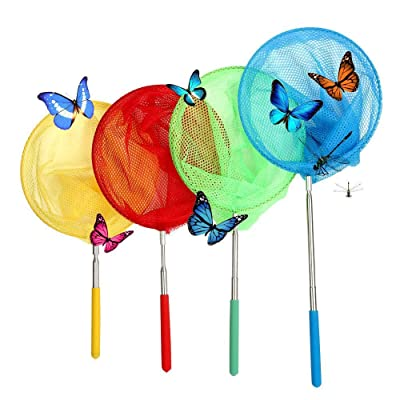 VIPITH 4 Packs Colorful Kids Telescopic Butterfly Net, Extendable 34 Inches and Anti Slip Grip, Perfect for Catching Bugs Insect Small Fish: Toys & Games