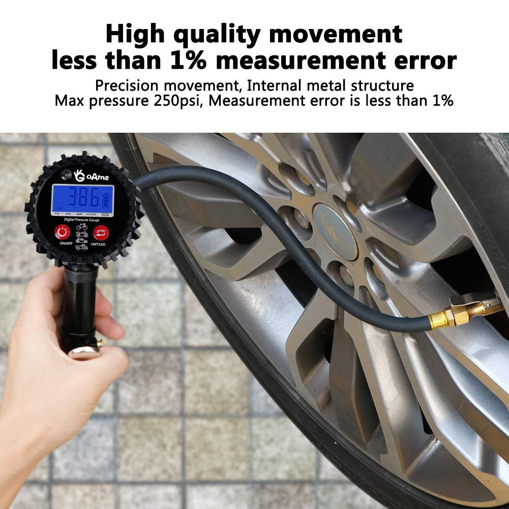 Manómetro Digital 250 PSI Manometro Presion Neumaticos con Pantalla LCD para Motocicleta, Bcicleta y Coche: Amazon.es: Coche y moto