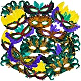 Bedwina Mardi Gras Masks - (Pack of 50) Bulk Carnival Masquerade Mask Costume Party Supplies, Feather Mardi Gras Decorations for Women, Men and Kids