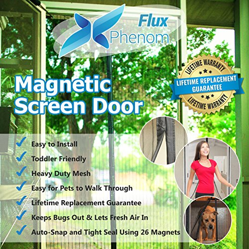 Flux Phenom Reinforced Magnetic Screen Door, Fits Door Up To 38 x 82-Inch (Cheap Bifold Patio Doors)