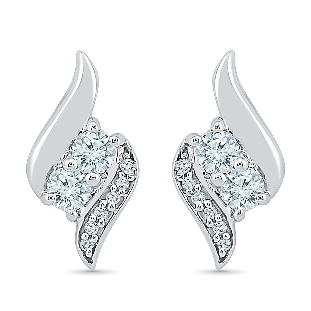 TOGETHER US DIAMOND COLLECTION Sterling Silver Two Stone White Diamond Fashion Earring (0.33 Cttw)