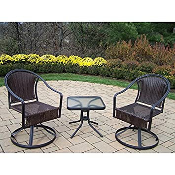 outdoor dining set 3 piece steel and wicker swivel rocker chairs and side table outdoor patio