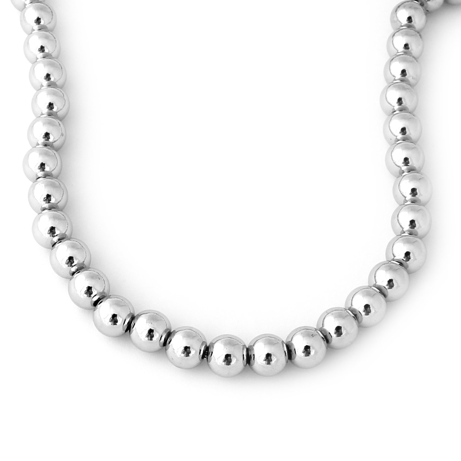 Sterling Silver Lightweight Beaded 20'' Necklace - 9mm Beads
