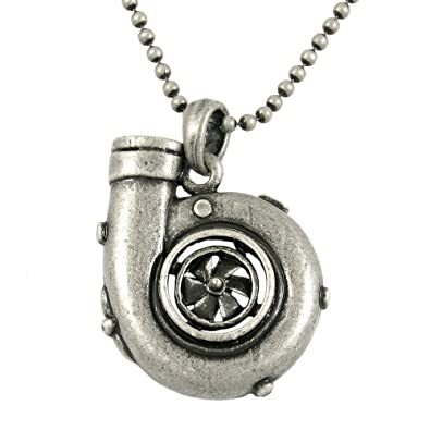 Turbo Engine Car Lover Necklace Vintage Silver Tone