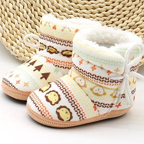 Babyschuhe Longra Baby Stiefel Schuhe weiche Sohle Stiefel Prewalker warme Lauflernschuhe Krippeschuhe (12CM, 1-12 Monate Baby) Khaki