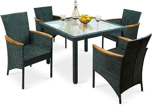 LD Asiento Grupo 9 Piezas sillas Mesa Silla Muebles de Jardín Mesa de Cristal: Amazon.es: Jardín