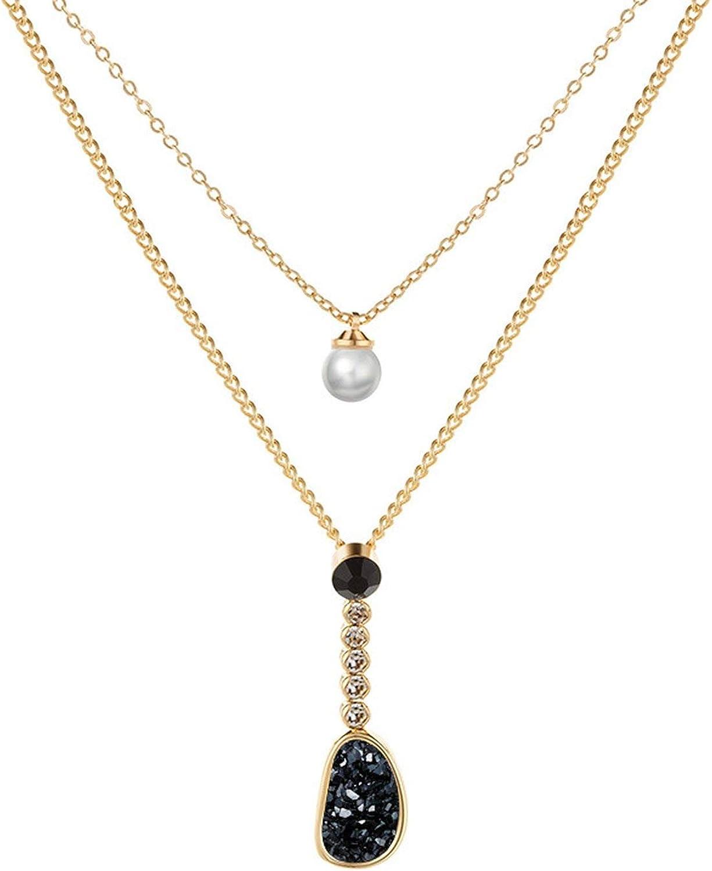 Modelos de explosión de la joyería de la perla con incrustaciones de oro grande de nombre de clúster-collar de las mujeres de doble capa de la cadena de clavícula Accesorios populares