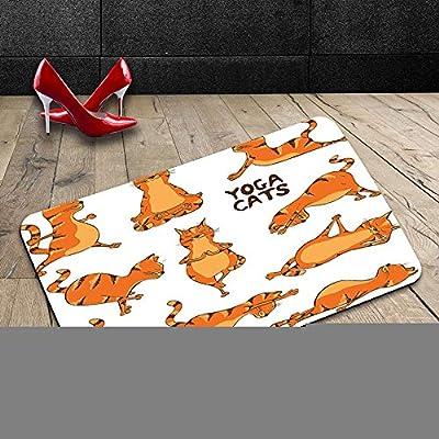 Custom lavable Felpudo gato amante decoración colección gatos haciendo Yoga posición ejercicio Fitness Gimnasia elástico estilo de vida saludable Humor ...