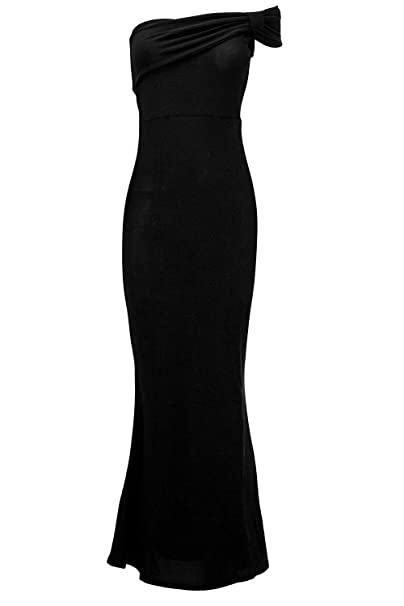 a4f6d84bc4 Oops Womens Bow Frill Boobtube Bandeue Sleeveless Strapless Bodycon Maxi  Dress Black