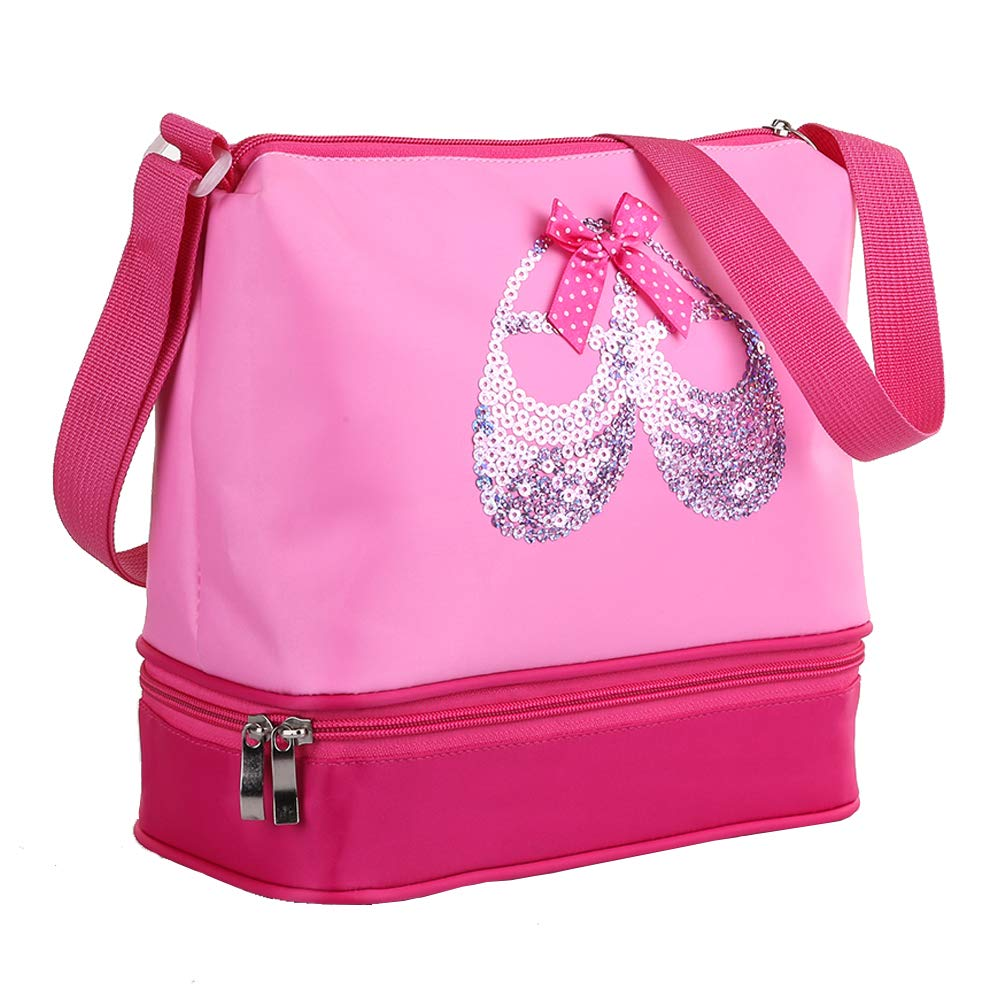 Pink Princess Ballet Dance Tote Bags for Little Girls Ballerina Kid Teen Dancer with Double Layer Compartment and Adjustable Strap for Tutu Dress Shoes Towel Slippers