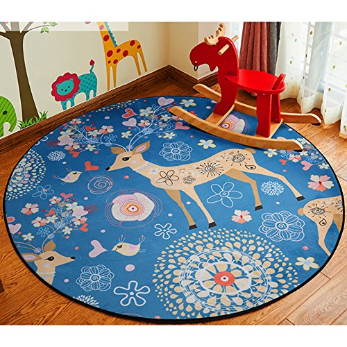 ZaH Cartoon Children Rugs Bedroom Carpet Living Dining Bathroom Doormat Floor Mats for Infants Baby Toddlers (Circle), Elk, 4'