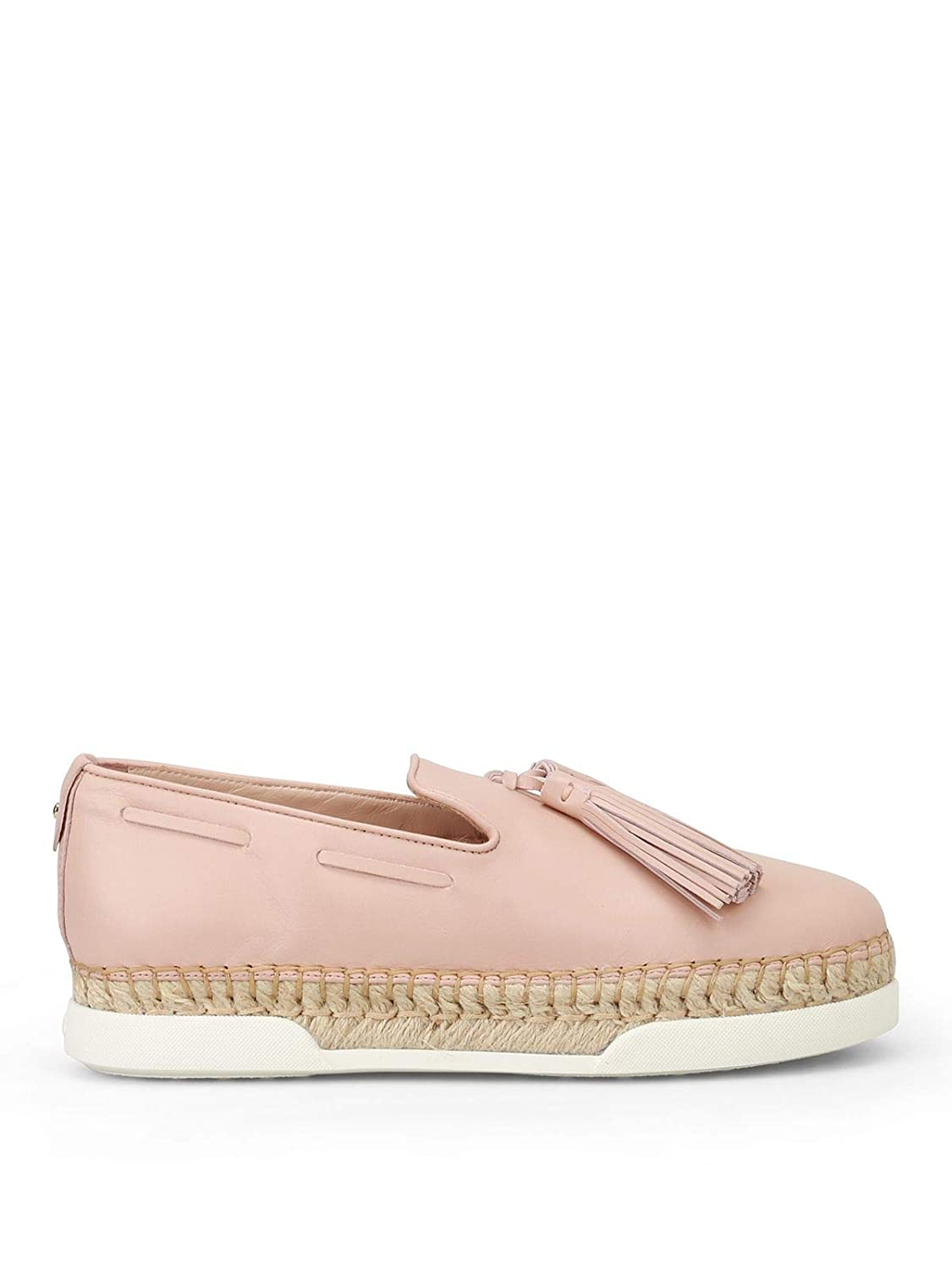 - Tod's Women's XXW96A0Y451JUSM011 Pink Leather Slip On Sneakers