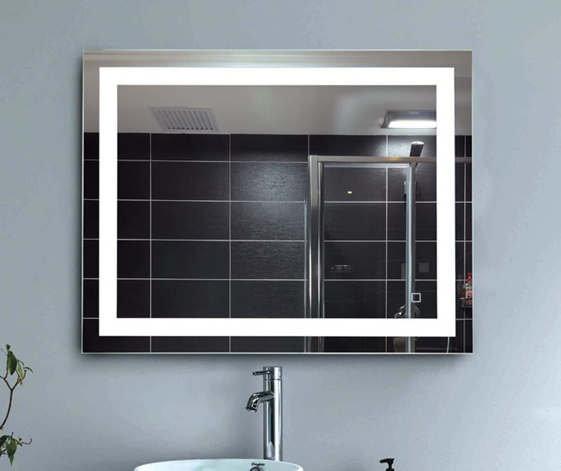LEVE 36 x28 LED Backlit Mirror Bathroom Wall Mounted Illuminated Mirror, Dimmable and Anti-Fog Led Border
