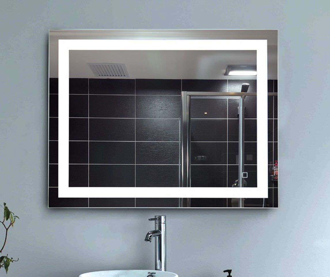 LEVE 36''x28'' LED Backlit Mirror Bathroom Wall Mounted Illuminated Mirror, Dimmable and Anti-Fog (Led Border) by LEVE