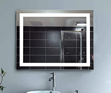 Hu0026A Dimmable LED Backlit Mirror Anti Fog Illuminated Vanity Mirror Bathroom  Mirror With Touch Button