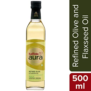 Saffola Aura Refined Olive and Flaxseed Oil, 500ml