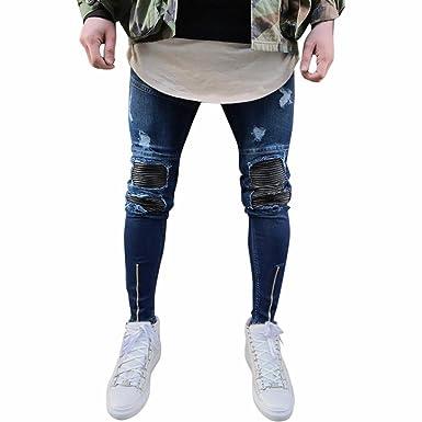 01b915af885d Ansenesna Hosen Herren Jeans Lang Skinny Fit Destroyed Effekte Freizeithose  Männer Vintage Denim Mit Reisverschluss (
