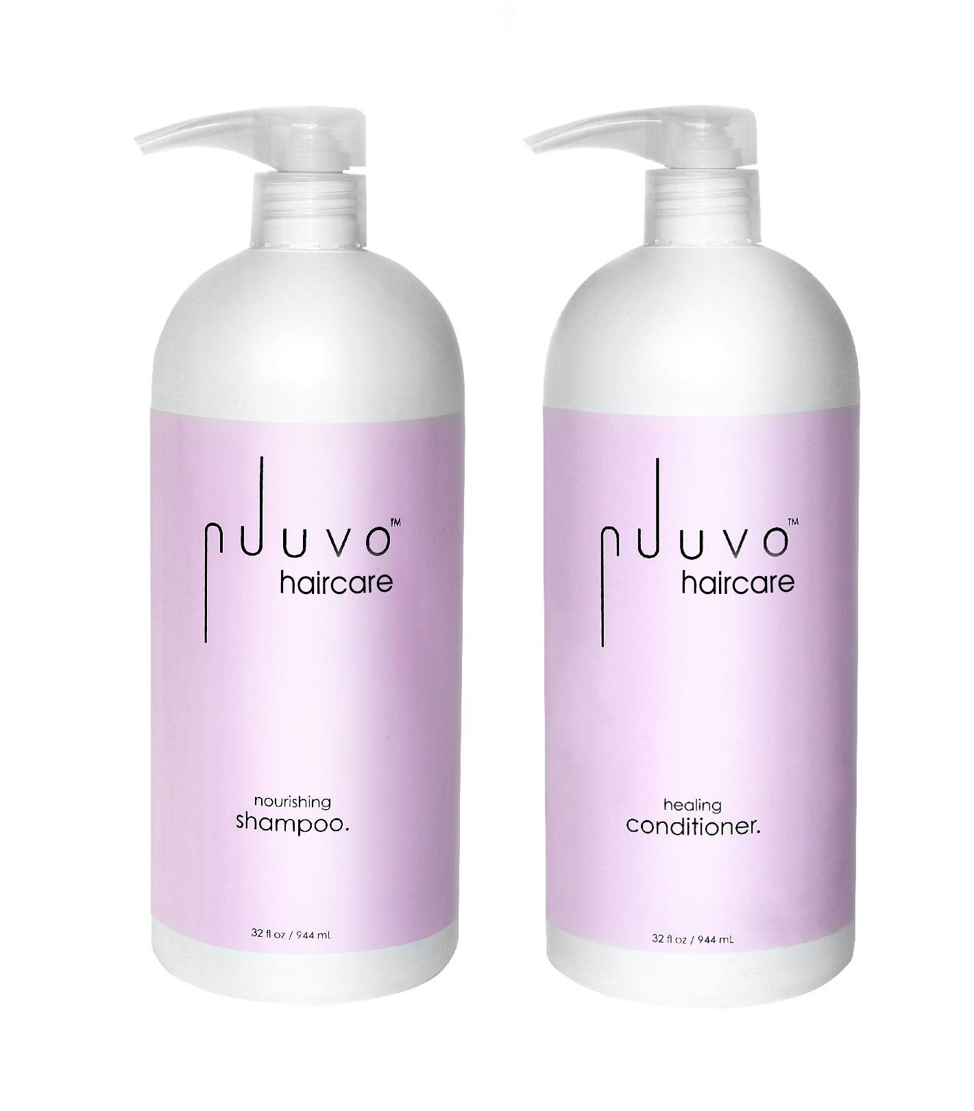 Jumbo Cleanse and Condition Duo by Nuuvo Haircare - Nourishing Shampoo 33 Ounce / 1 Liter + Healing Conditioner 33 Ounce / 1 Liter - Keratin Infused + Sulfate Free