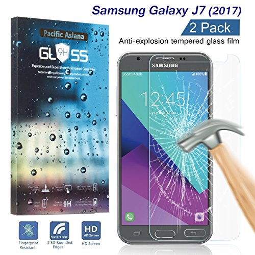 [2-Pack]J7 2017 Screen Protector, Pacific Asiana Thin HD Clear Ballistic Tempered Glass [9H Hardness] [Anti-Scratch] [Bubble-Free] [Shockproof] Shield for Samsung Galaxy J7 Sky Pro/J7 V 2017/J7 Perx
