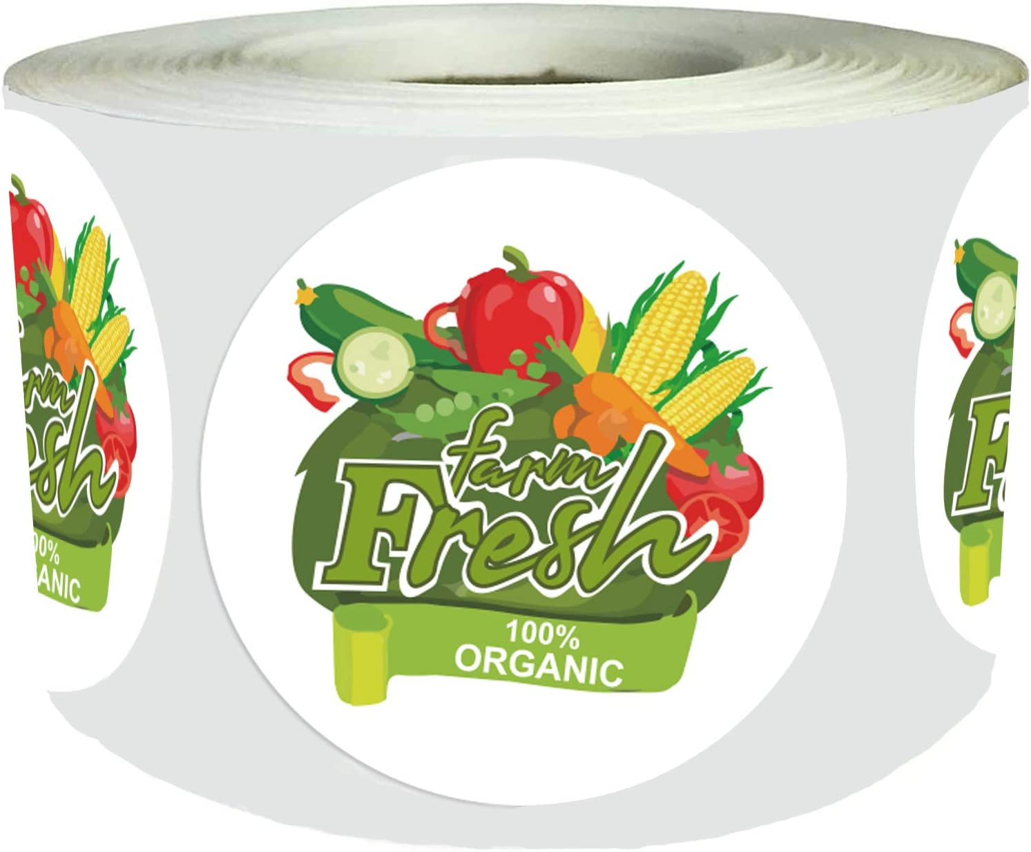 Farm Fresh Organic Food Rotation Labels 1.5 inch Grocery Organic Made Labels Round Circle Dots Adhesive Egg Carton Stickersfor Farmers Market Package 500pcs