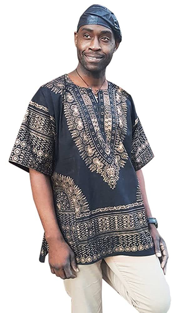 Black and Gold Traditional African Print Dashiki Shirt