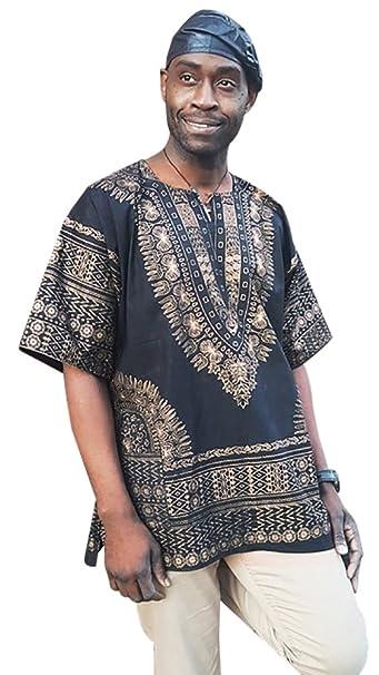 024f5c8a455 Amazon.com  Black and Gold Traditional African Print Dashiki Shirt  Clothing