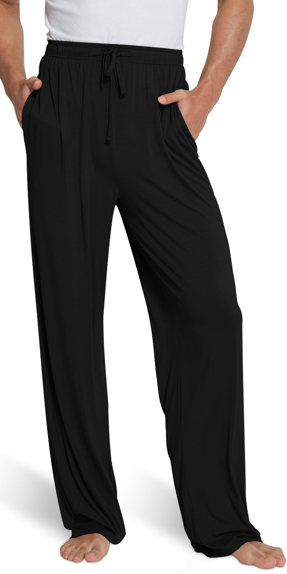 GYS Men's Extra Long Bamboo Sleep Pants, Black, Large
