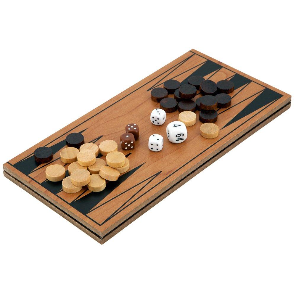Compacto Plegable Madera Viaje Backgammon juego