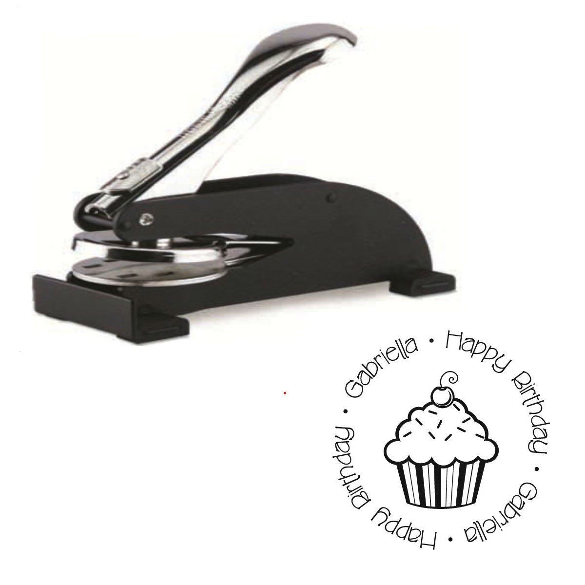 Infusion Custom Happy Birthday Logo Desk Embosser Seal - 1.675'' Round Personalized Paper Embosser by Shiny (Image #1)
