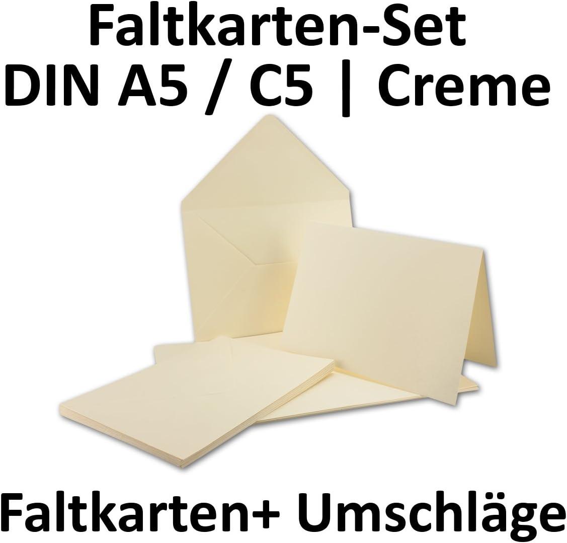 bedruckbare Post-Karten in DIN A5 50er-Set A5 Doppelkarten inklusive gef/ütterten Briefumschl/äge Blanko Naturwei/ß Einladungskarten in Hochwei/ß Klappkarten//Faltkarten