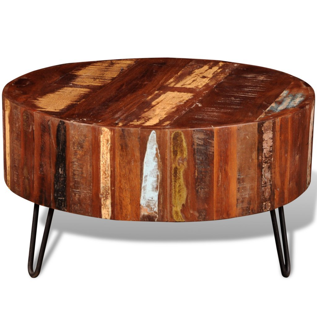 Festnight Round Coffee Table Reclaimed Wood End Side Table