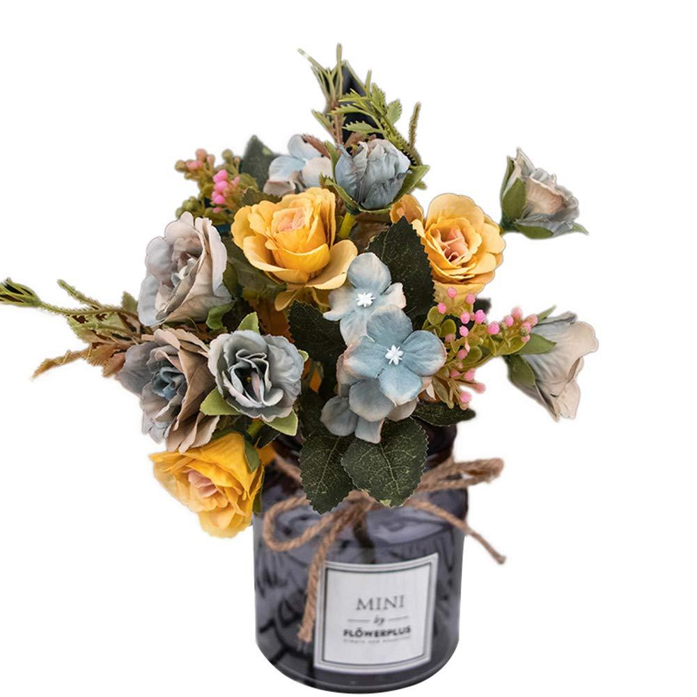 Connoworld-1Pc Artificial Rose Flower Fake Plant Wedding Party Restaurant Hotel Home Decor - Grey Blue