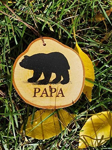 Bear painted Chrsitmas tree ornament for your Papa bear in your family to hang in your woodland themed home