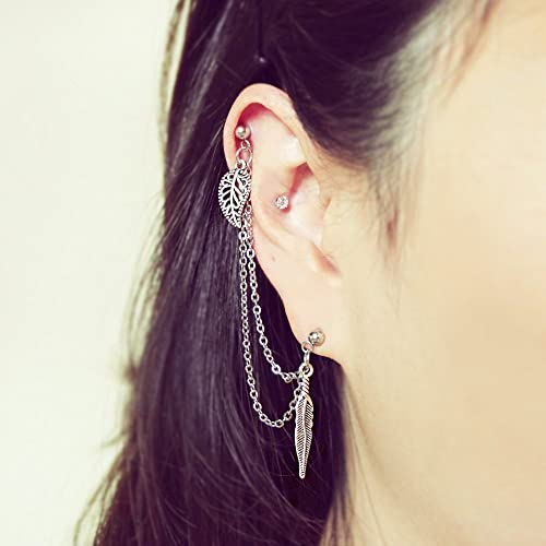 962fa055d Favoriete Amazon.com: Leaf & Feather helix to lobe chain earring, 16g /
