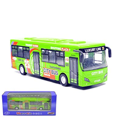 Ailejia City Double Decker Bus Die Cast Pull Back Vehicles Mini Car Diecast Models Car Toys Lights and Music (Green): Toys & Games