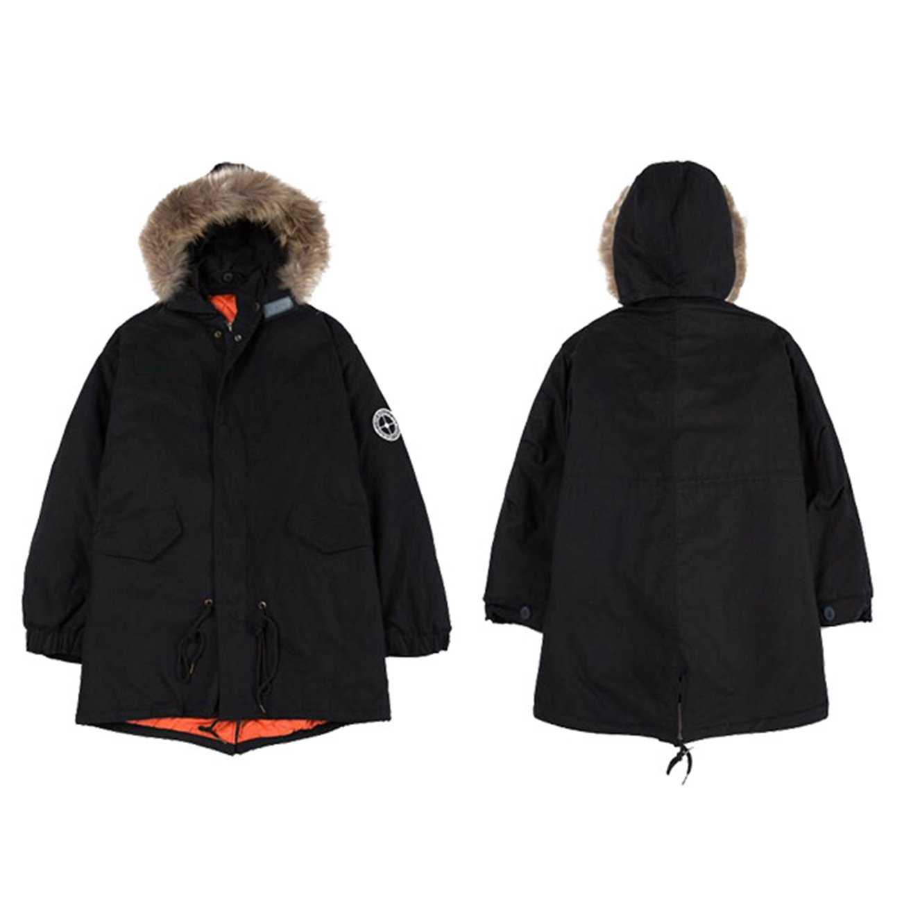 【ビビショー】中綿コート フードファー付き 男女兼用 体型カバー ミリタリージャケット防寒 あったか アウター 高品質 暖かい B077TFLRCK L|ブラック ブラック L