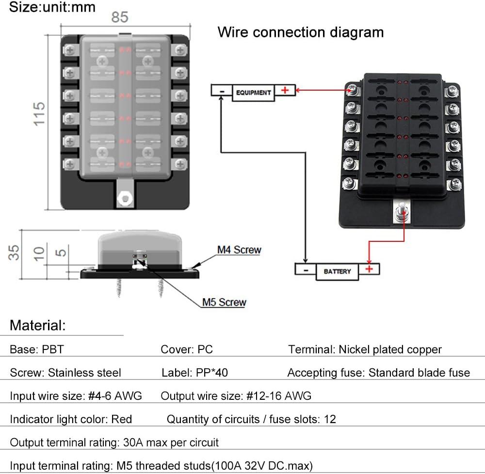 Sicherungskasten mit Roter LED-Anzeige Fuse Box Gecheer 12 Weg Sicherungshalter 10Pcs Terminals Halter Sicherungsbl/öcke f/ür Auto Boot Wohnmobil Wohnwagen